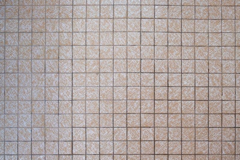 petites tuiles beiges carrées de salle de bains des années 1970 photos libres de droits