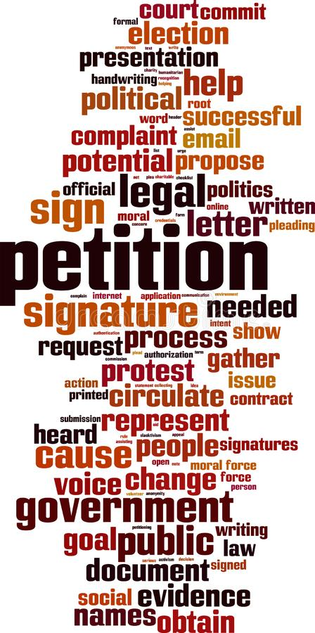Petition word cloud. Concept. Vector illustration stock illustration