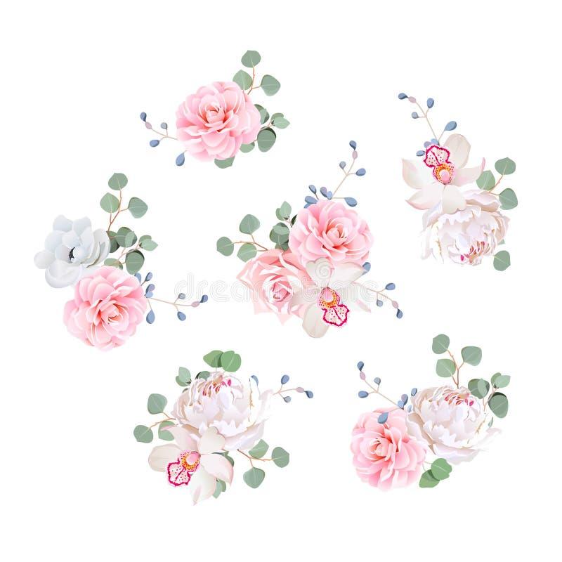 Petits éléments de conception de vecteur de bouquets de mariage illustration de vecteur