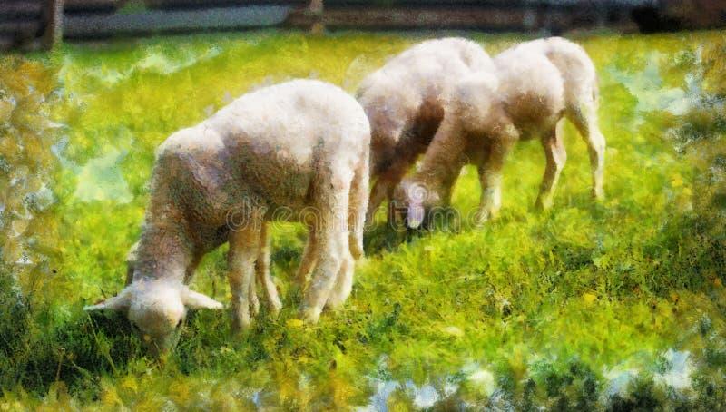 Petits agneaux frôlant sur un beau pré vert avec le pissenlit effet de peinture d'ordinateur image libre de droits
