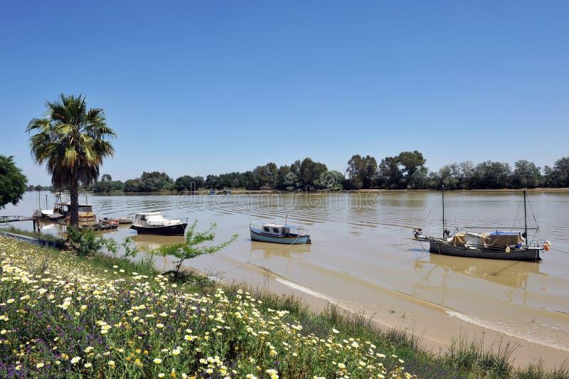 Petits bateaux au pilier, la rivière du Guadalquivir comme il traverse le del province de Rio, Séville de corions, Andalousie, Es image stock
