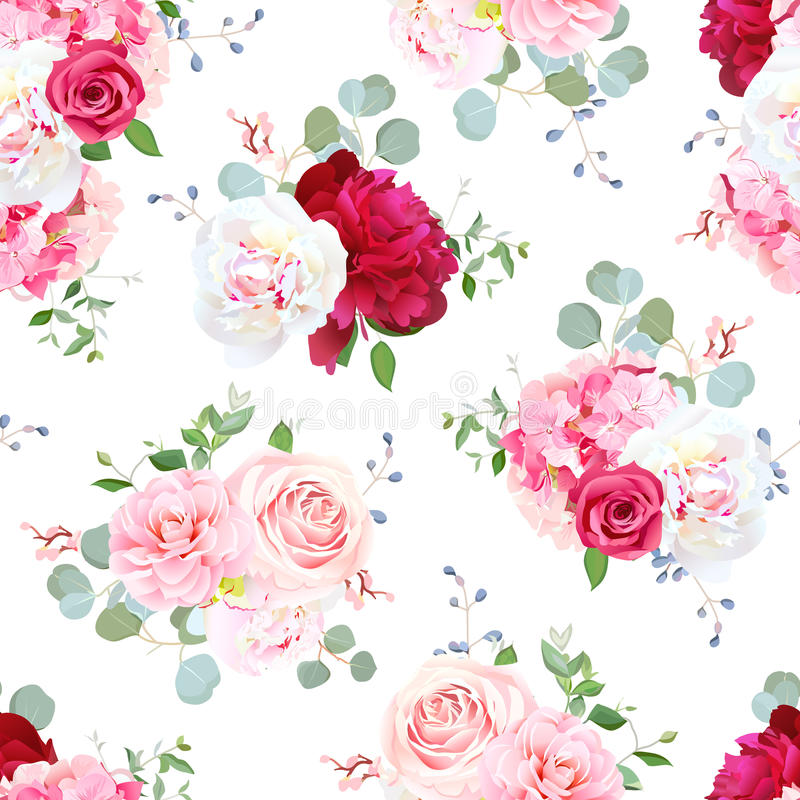Petits bouquets de mariage de modèle sans couture de vecteur de fleurs illustration stock