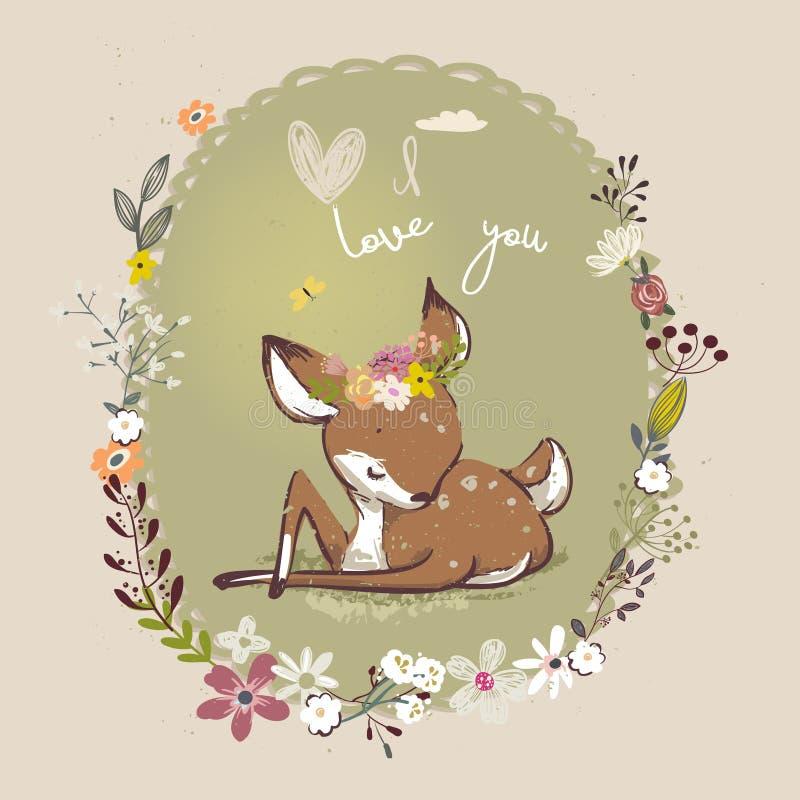 Petits cerfs communs mignons avec la guirlande florale illustration libre de droits