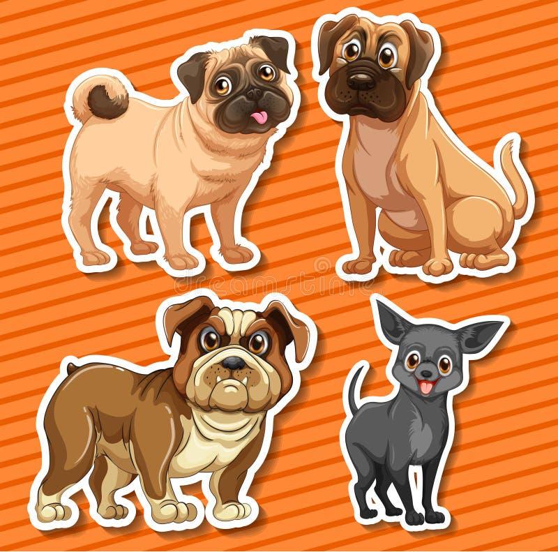 Petits chiens de races sur le fond orange illustration libre de droits