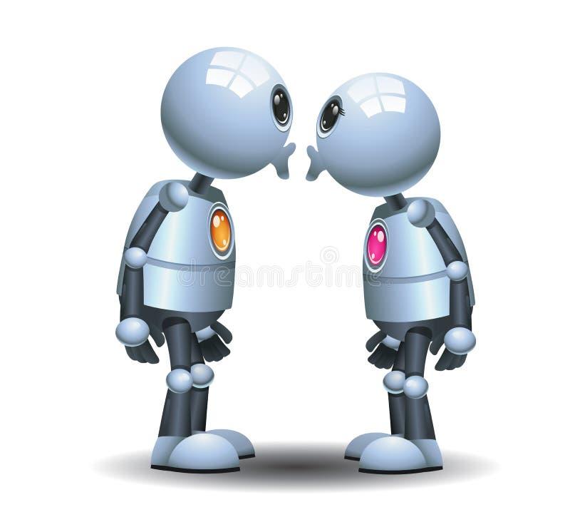 petits couples de robot embrassant dans le moment de romantice illustration de vecteur