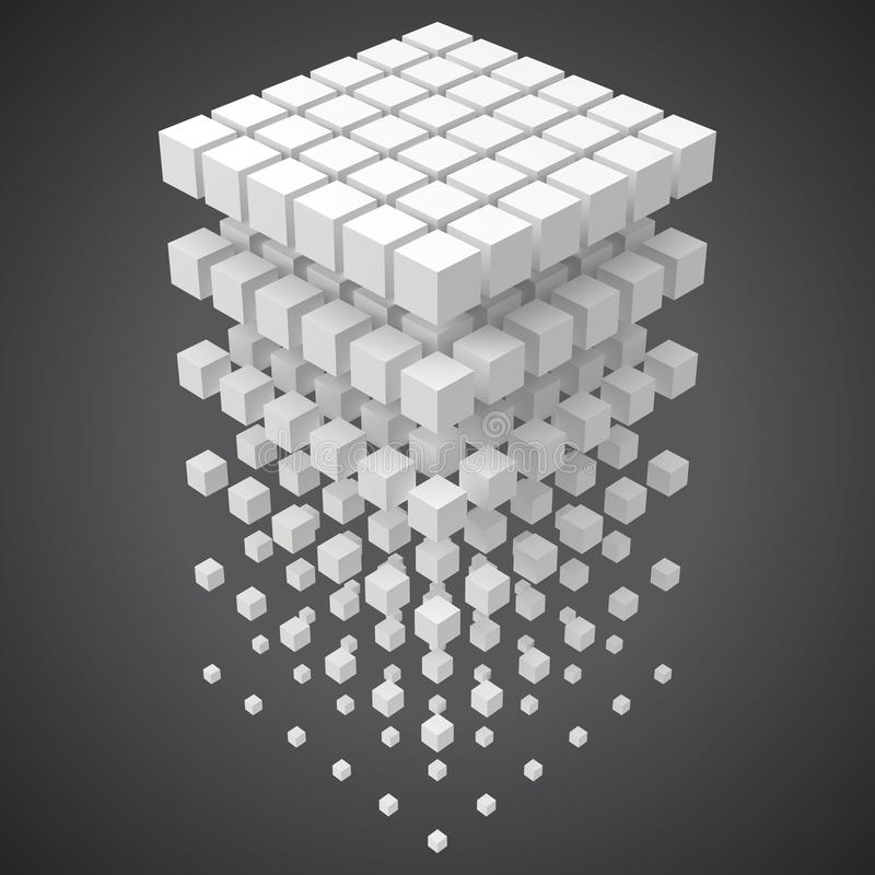 Petits cubes formant un grand cube blockchain et grand cncept de données illustration de vecteur du style 3d illustration de vecteur