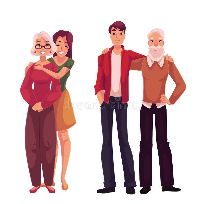 Petits-enfants étreignant leurs grands-parents, illustration de vecteur de bande dessinée illustration de vecteur