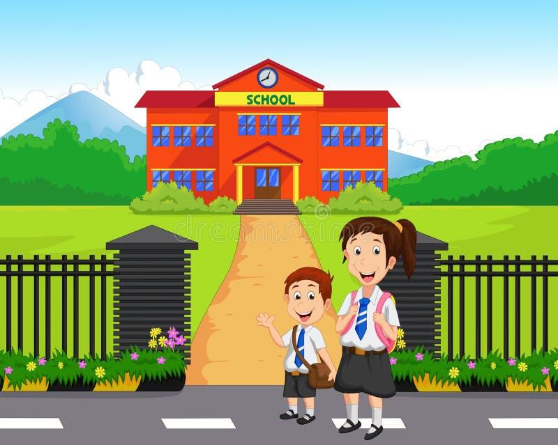 Petits enfants allant à l'école illustration stock