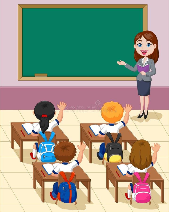 Petits enfants de bande dessinée une étude dans la salle de classe illustration de vecteur