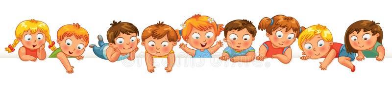 Petits enfants mignons au-dessus d'un fond blanc illustration libre de droits