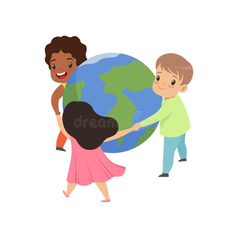 Petits enfants mignons tenant des mains autour de l'illustration de vecteur du monde sur un fond blanc illustration de vecteur