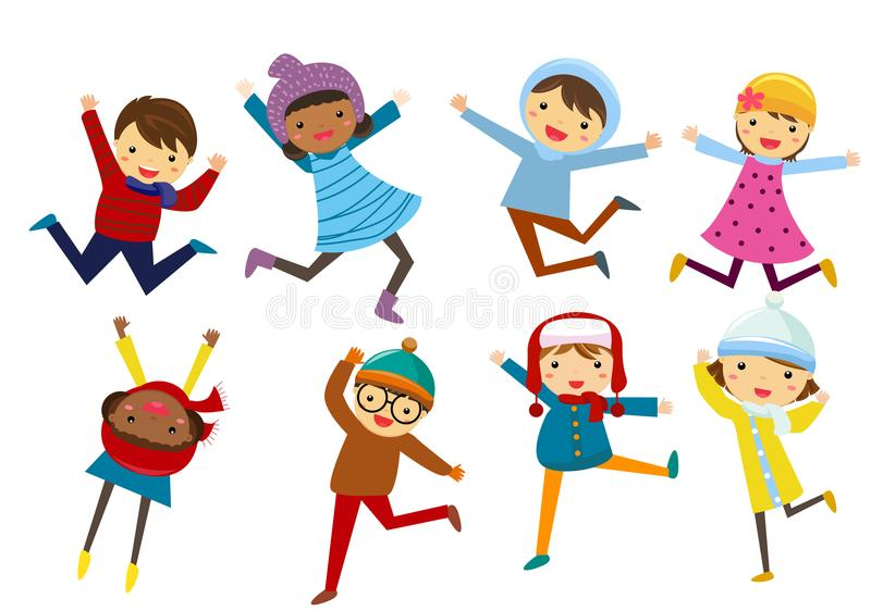 Petits enfants portant des vêtements d'hiver illustration de vecteur