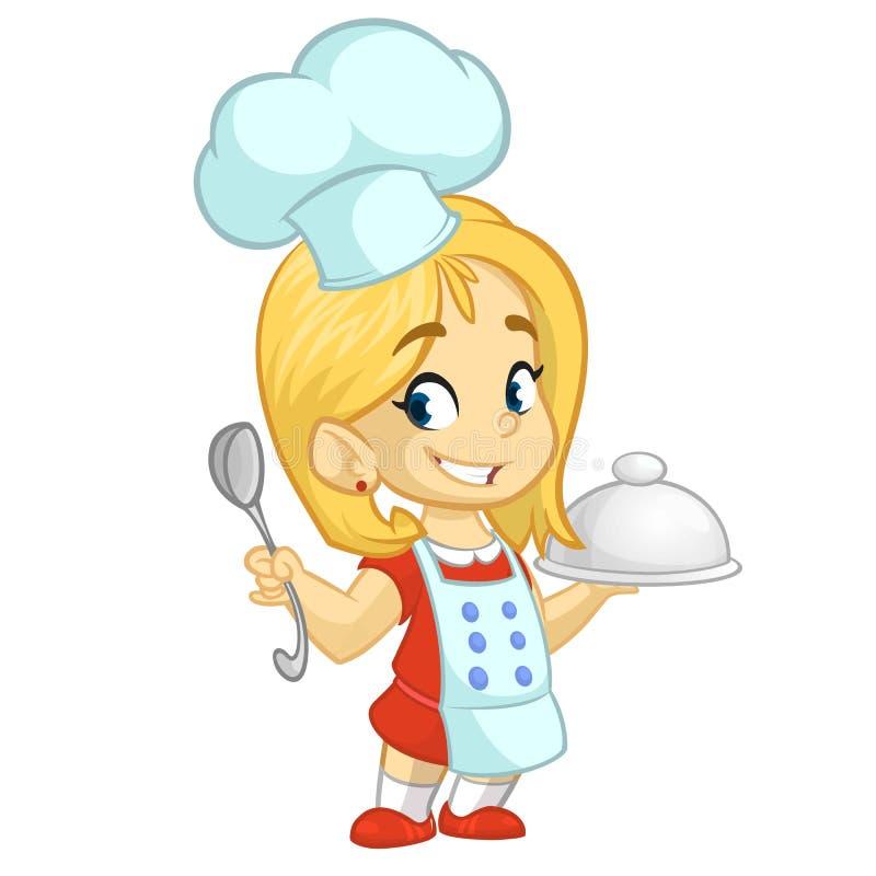 Petits fille de bande dessinée tenant un plateau avec un plat et louche Illustration de vecteur illustration de vecteur