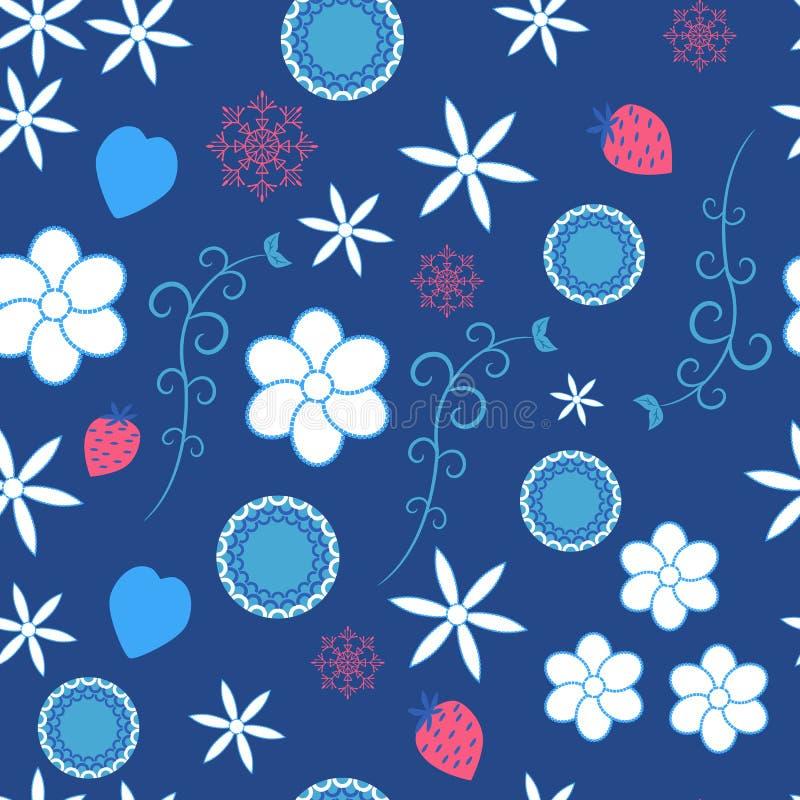 Petits fleurs et modèles sur le fond bleu illustration libre de droits