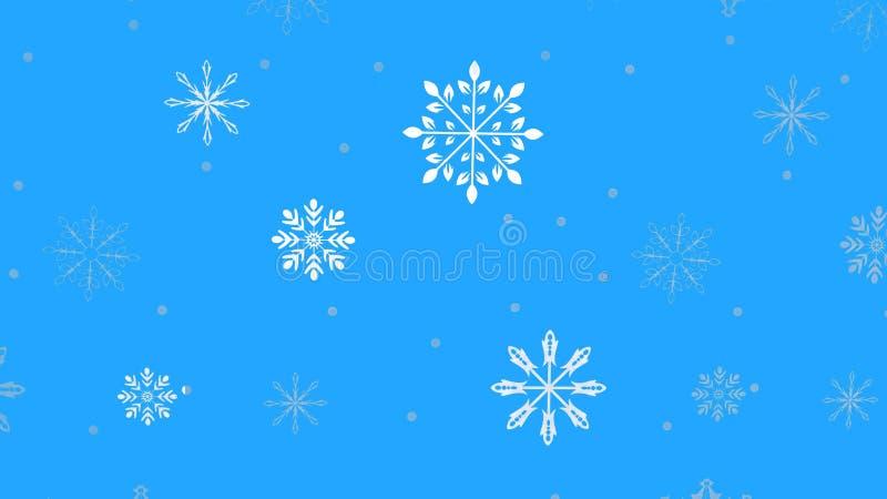 Petits flocons de neige sur un fond bleu illustration libre de droits