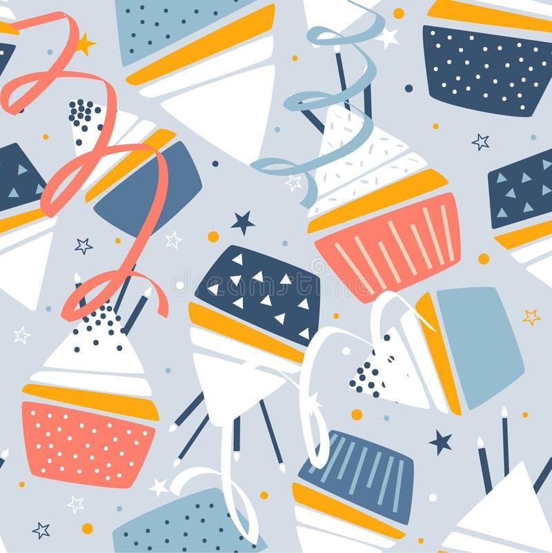 Petits gâteaux avec des bougies, confettis, modèle sans couture coloré illustration libre de droits