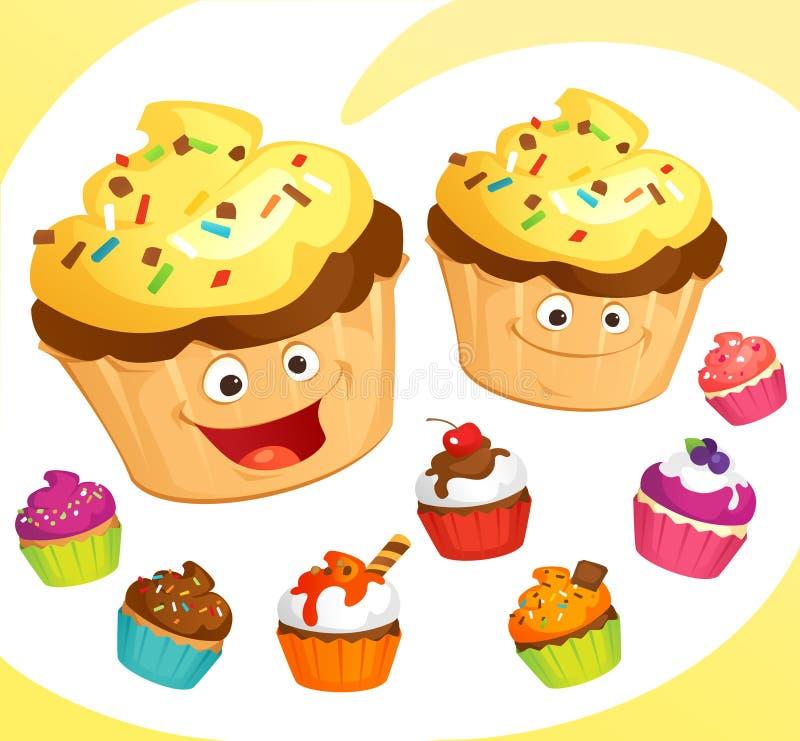 Petits gâteaux colorés réglés illustration libre de droits
