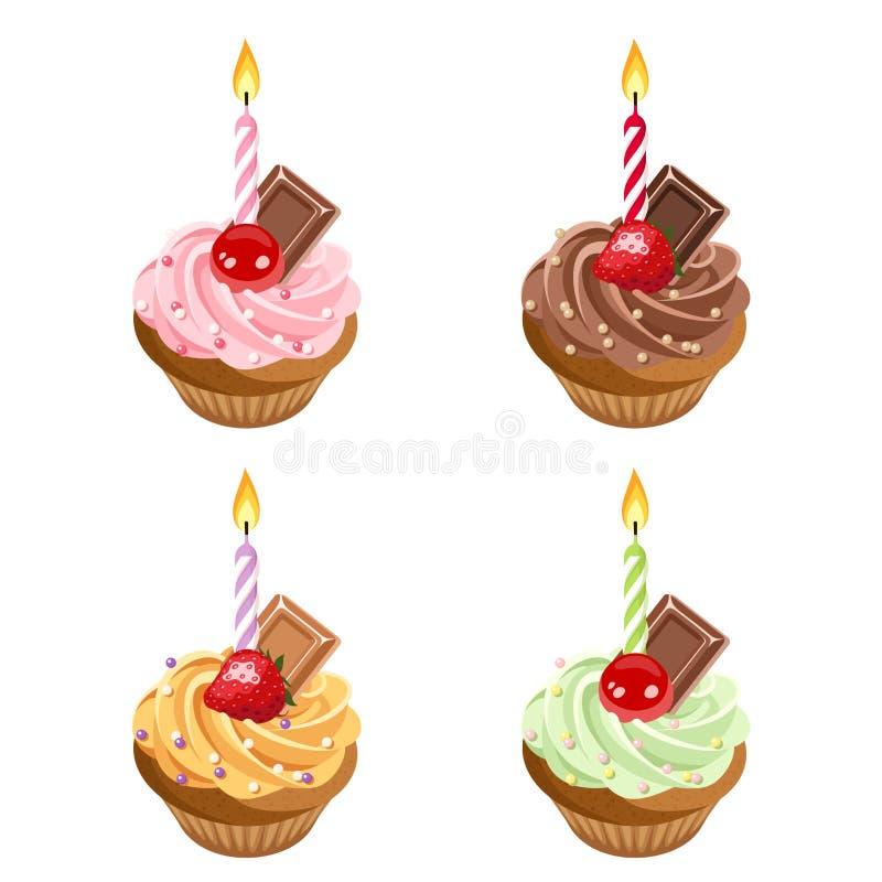 Petits gâteaux d'anniversaire. Ensemble de quatre illustrations. illustration libre de droits