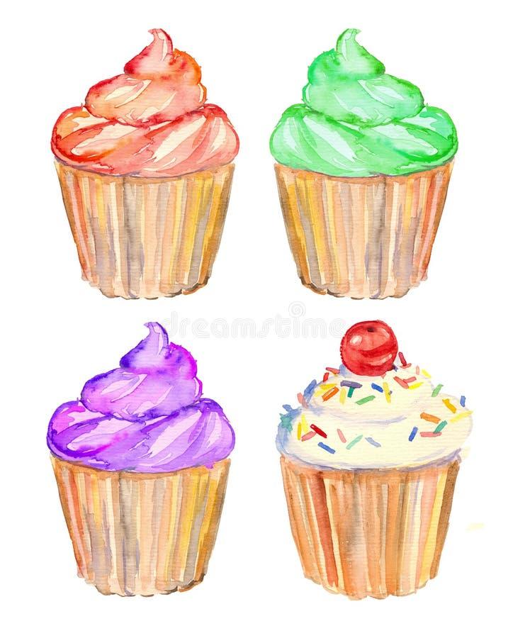 Petits gâteaux d'aquarelle illustration de vecteur