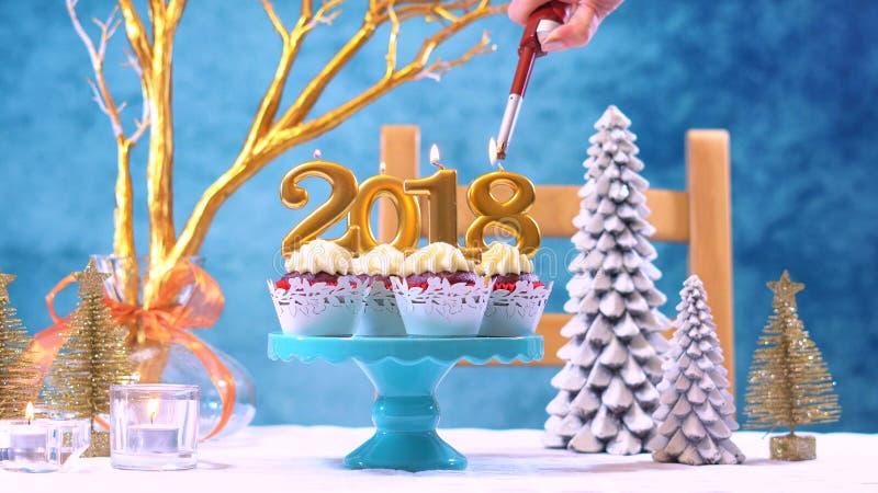 Petits gâteaux de la bonne année 2018 photographie stock