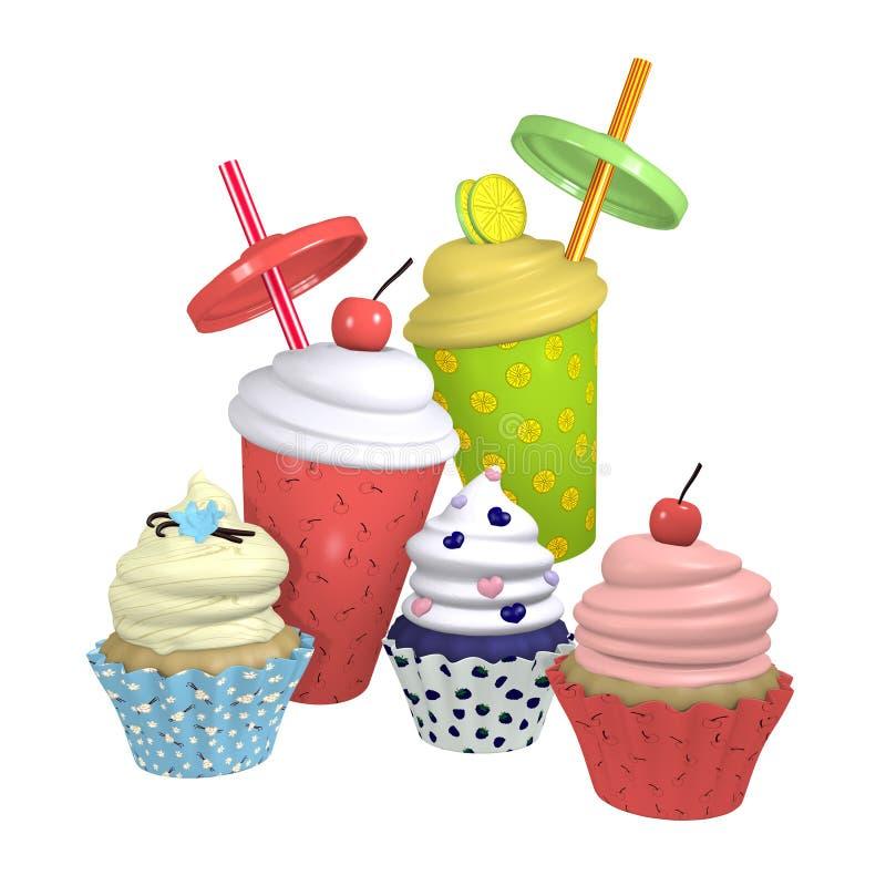 Petits gâteaux et milkshakes dans différentes variétés illustration de vecteur