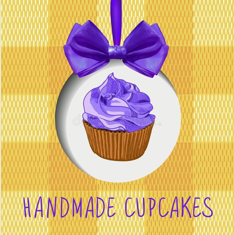Petits gâteaux faits main : DIRIGEZ le label avec le petit gâteau tiré par la main, l'arc réaliste et la texture de textile illustration libre de droits