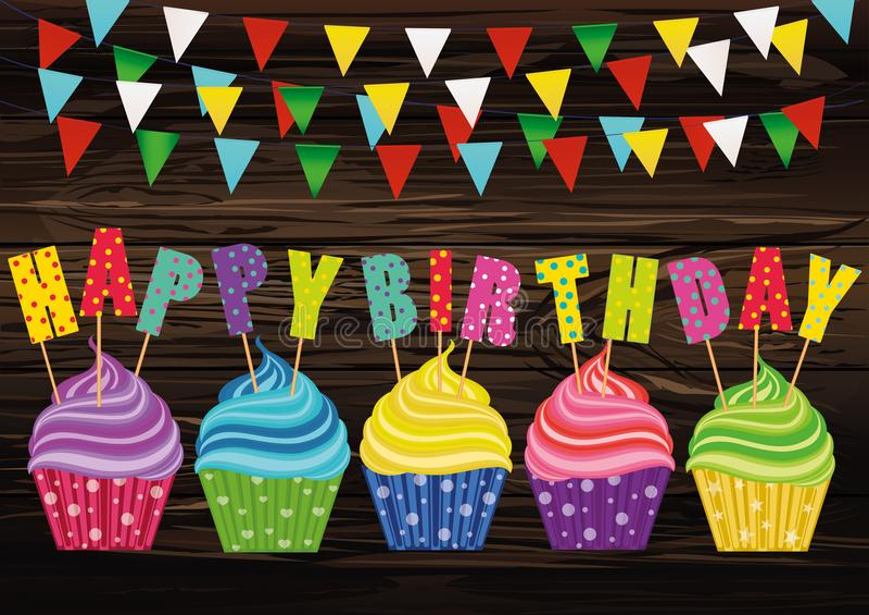 Petits gâteaux multicolores avec des lettres et anniversaire de mots le joyeux Gre illustration de vecteur