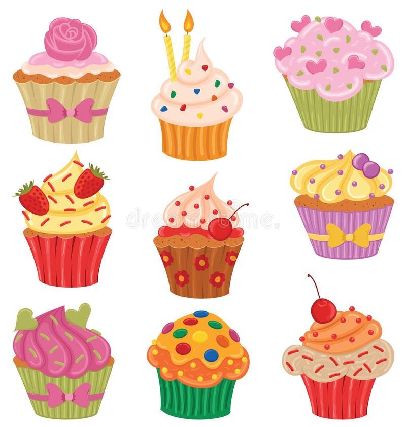 Petits gâteaux réglés illustration de vecteur