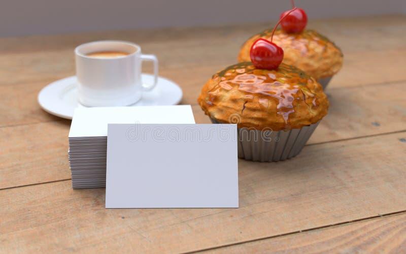 Petits gâteaux rouges de cerise avec les cartes de visite professionnelle blanches et vierges de visite Maquette image stock