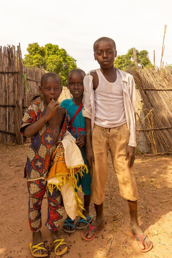 Petits garçons à une ferme photo libre de droits