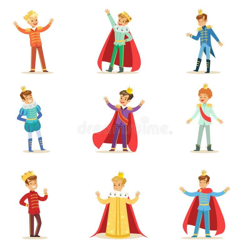 Petits garçons dans prince Costume With Crown et ensemble de manteau d'enfants mignons habillés comme illustrations de Royals illustration de vecteur