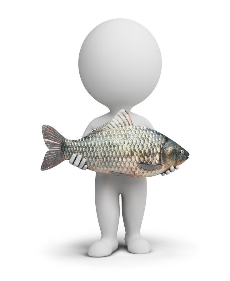 petits gens 3d - pêcheur et poissons illustration libre de droits