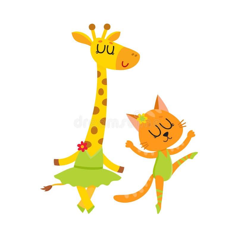 Petits girafe et chat mignons, caractères de chaton dansant le ballet ensemble illustration stock