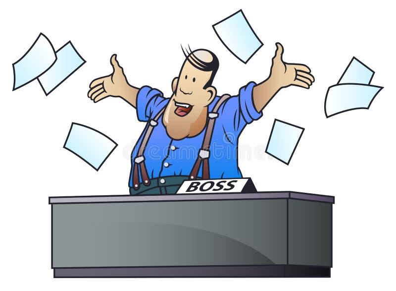 Petits hommes dr?les Bossage heureux Papier dispersé gros par homme illustration stock