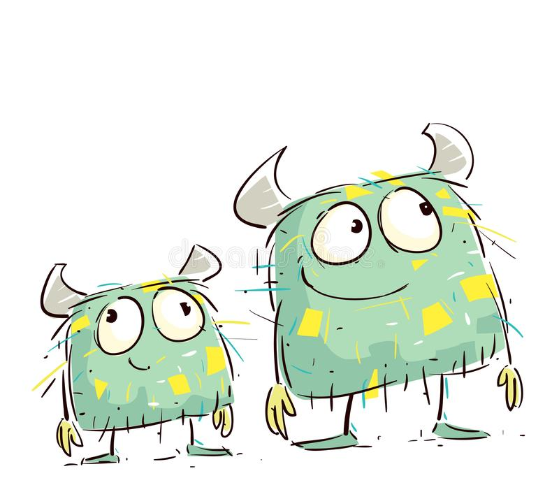 Petits monstres mignons ayant l'amusement illustration de vecteur