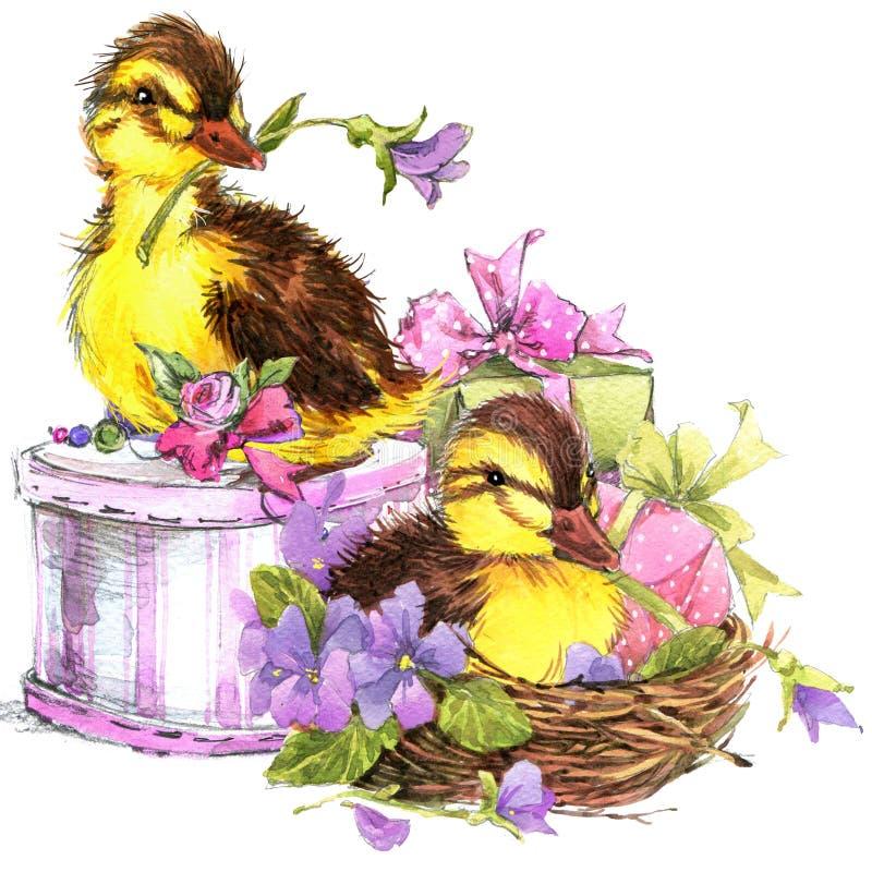 Petits oiseau, cadeau et fond de fleurs illustration stock