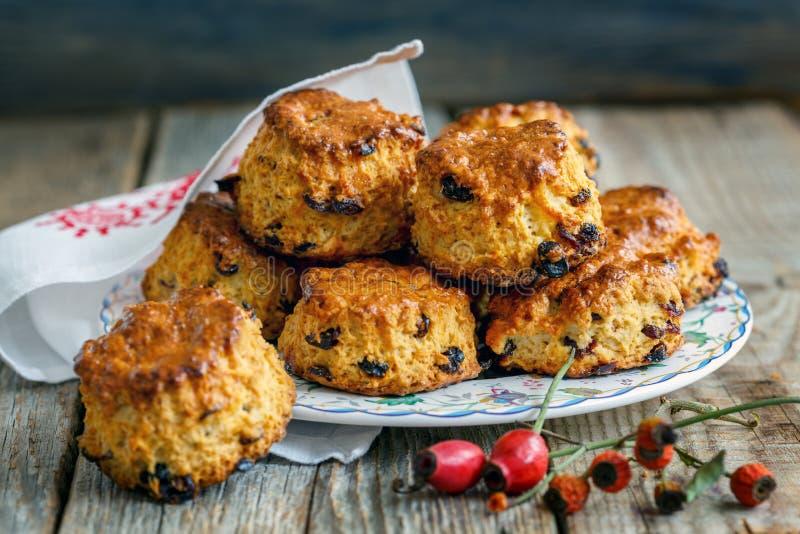 Petits pains anglais faits maison avec des raisins secs photo libre de droits
