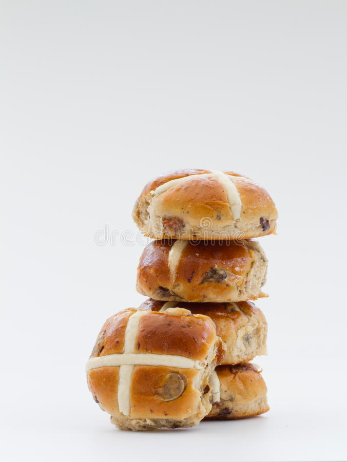 Petits pains croisés chauds de Pâques photo libre de droits