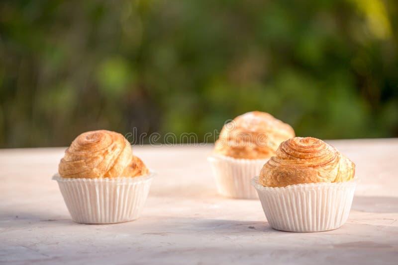Petits pains d'or cuits au four frais sur le tir en bois rustique de fond dans la lumière naturelle photos libres de droits