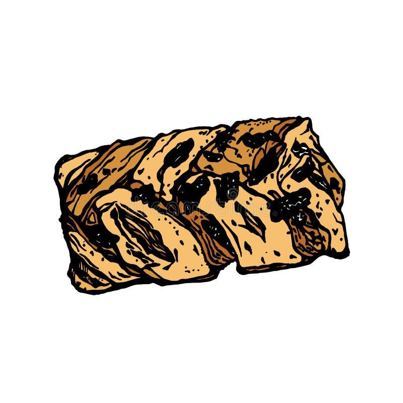 Petits pains danois avec les noix de pécan et le sirop d'érable illustration de vecteur