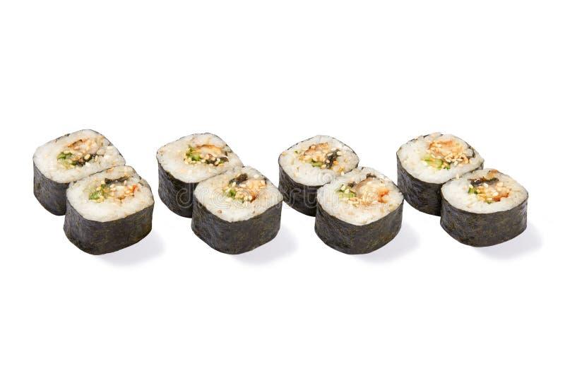 Petits pains de maki d'anguille images libres de droits