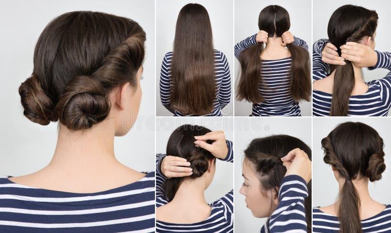 Petits pains tordus par coiffure d'instruction image stock