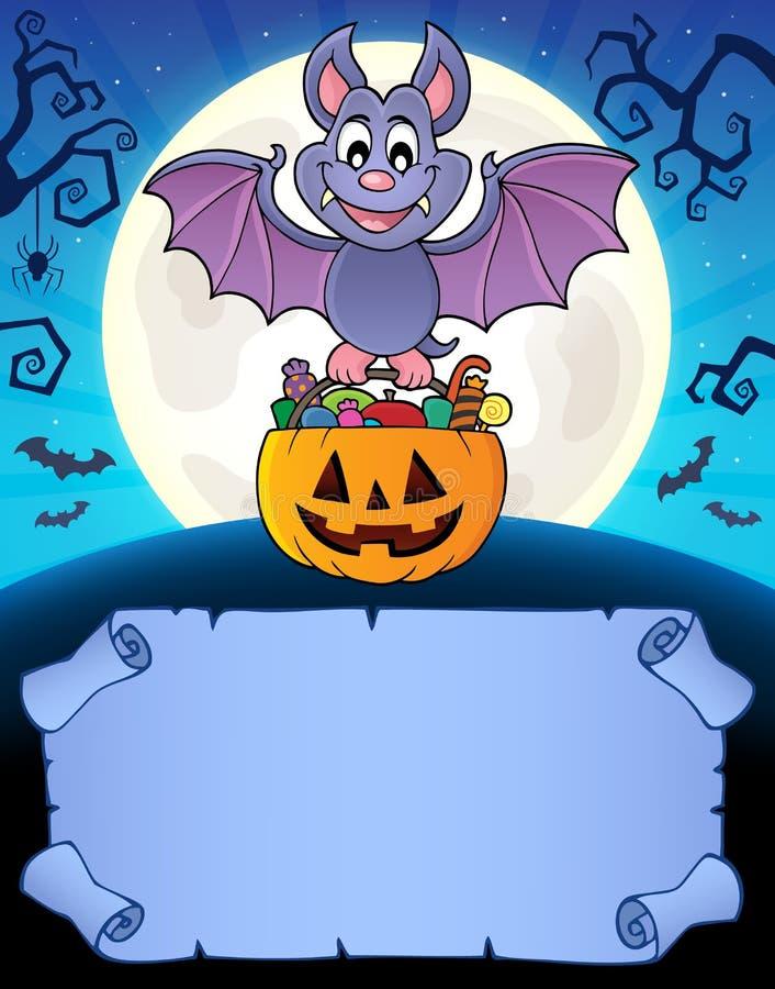 Petits parchemin et batte 1 de Halloween illustration de vecteur