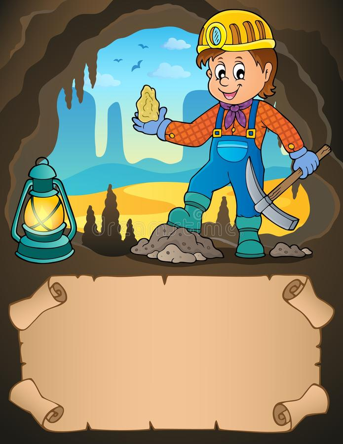 Petits parchemin et mineur avec du minerai illustration de vecteur