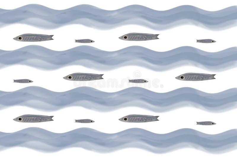 Petits poissons gris Vagues bleues photo libre de droits