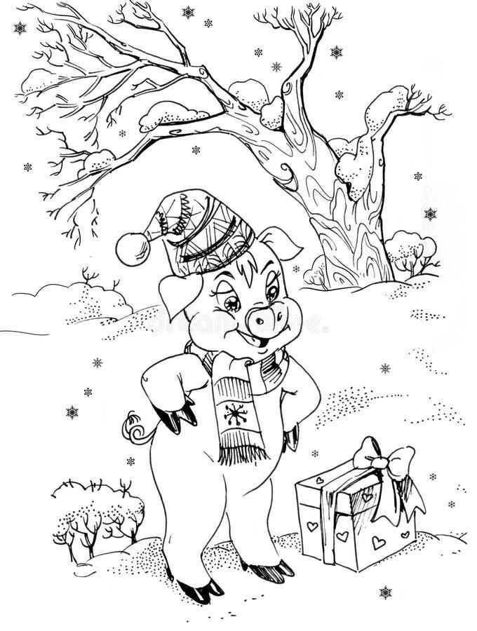 Petits porc et cadeau illustration stock