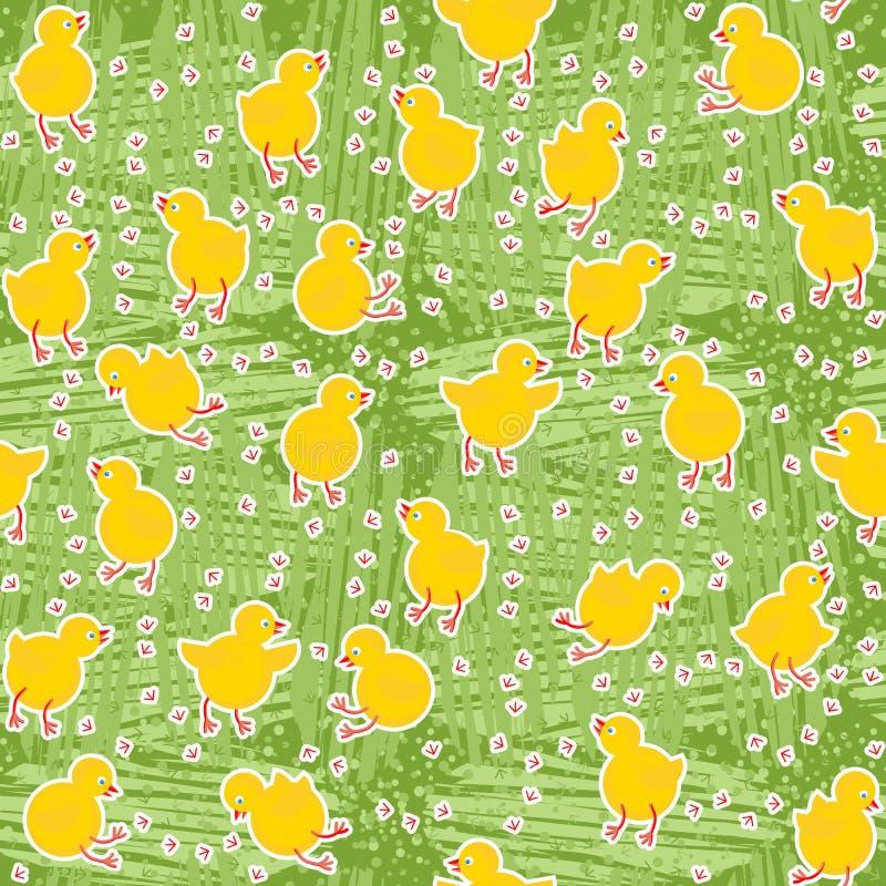 Petits poulets sur le pré vert illustration stock