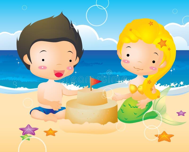 Petits sirène et garçon illustration de vecteur
