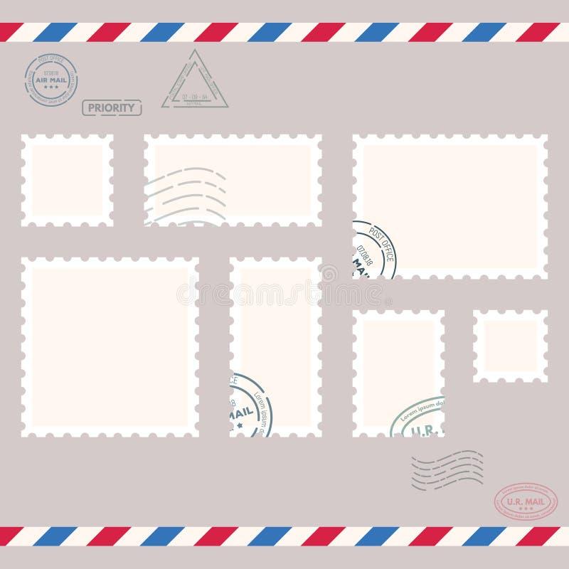 Petits timbres de courrier illustration de vecteur