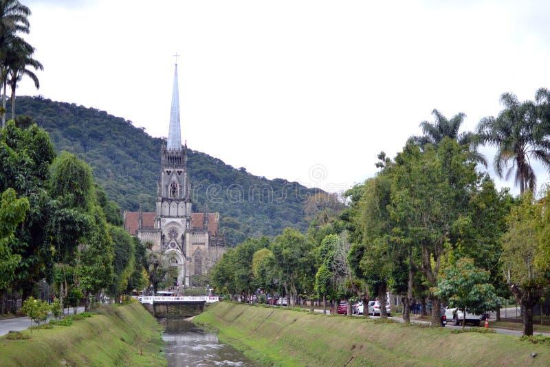 Petopolis, Rio de Janeiro, Brazylia 18 LIPCA 2019 R.: Katedra Najświętszej Maryi Panny w Petropolis obraz stock